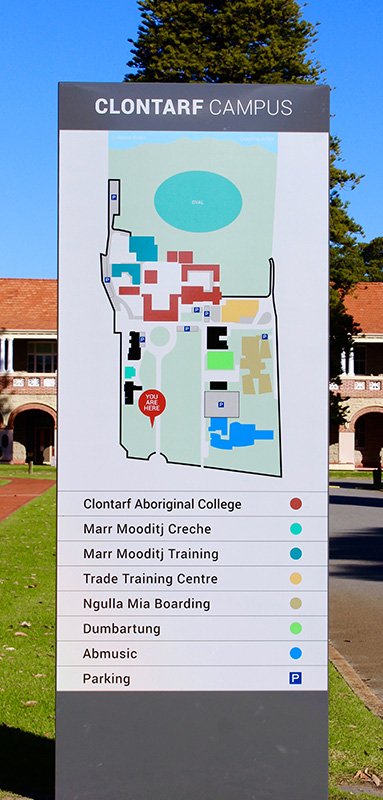 ILC Clontarf Campus blade sign with map